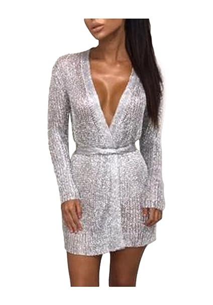 vasta selezione di 0169a 6865c Sentao Donna Lungo Cardigan Manica Lunga Autunno Elegante Moda Giacca  Cappotto Maglieria Knitted Pullover Tops