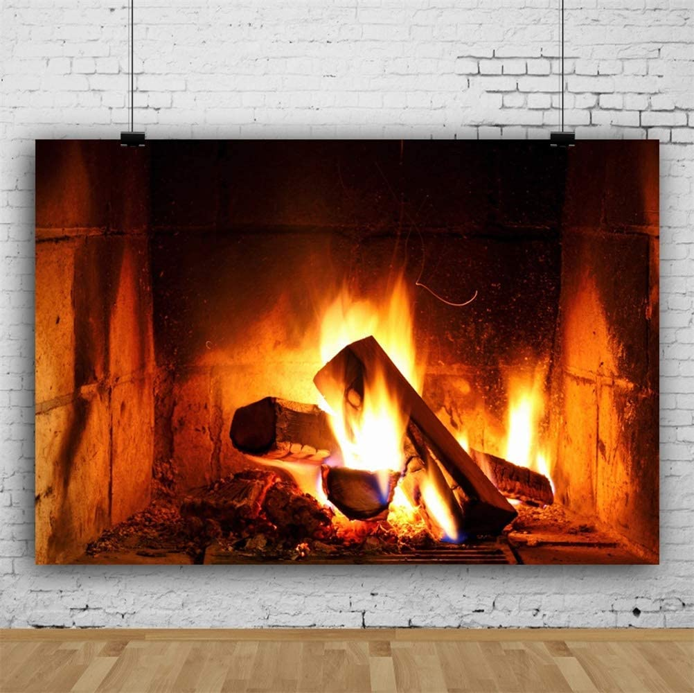 Countryside Old Fireplace Burning Timbers Bright Fire Flame Blackened Hearth Backdrop Polyester 10x6.5ft Child Kids Adult Portrait Background New Year Families Gathering Studio Props Rural