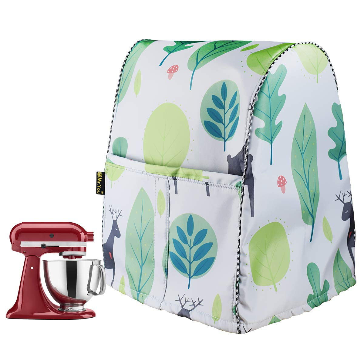 Stand Mixer Cover/Kitchen Mixer Cover with Organizer Bag, Fits All Tilt Head & Bowl Lift Models(W11.8D11H16in,Fallow Deer)