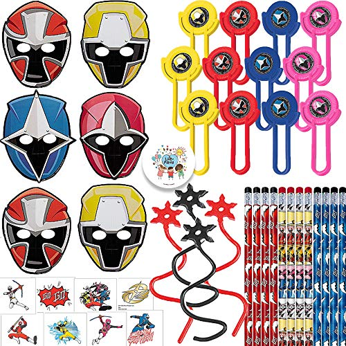 Power Rangers Ninja Steel Birthday Party Favor Pack For 12 With Pencils, Power Rangers Paper Masks, Tattoos, Ninja Star Sticky Toys, Disc Shooters, and Exclusive Pin By Another Dream -