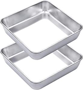 """WEZVIX Stainless Steel Square Cake Pan Set of 2, Non-stick Square Deep Dish Bakeware for Oven Baking, 8""""×8""""×2"""" Stick Less & Dishwasher Safe"""