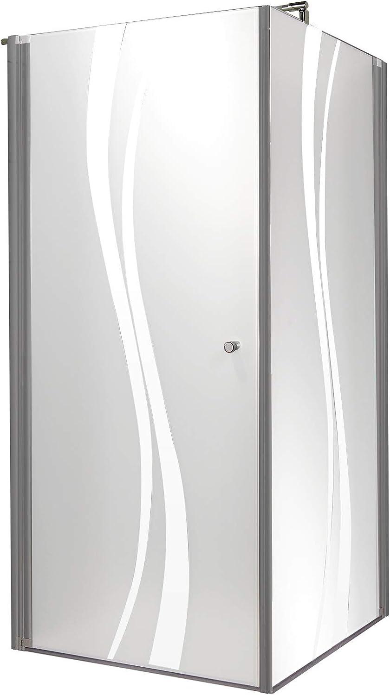 Puerta de ducha giratoria con pared lateral, cristal transparente con marco serigrafiado, perfil Alu Nature, 80 x 80 x 180 cm: Amazon.es: Bricolaje y herramientas