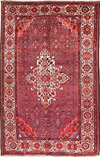(Vintage Hamadan Persian Wool Area Rug Handmade Geometric Oriental Red Carpet (11' 3