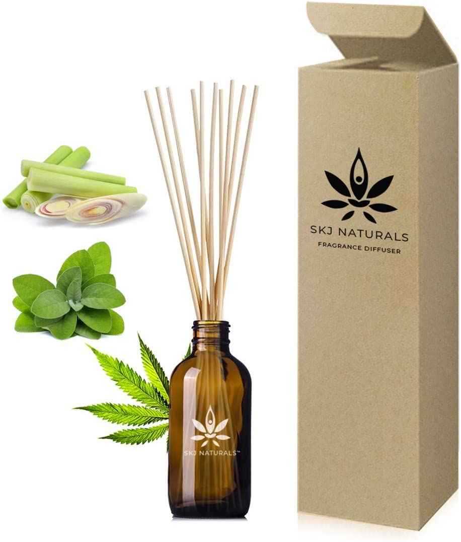 SKJ Naturals Cleansing Hemp, Lemongrass and Sage Essential Oils Aromatherapy Reed Diffuser Set | 100% Pure Oils | Reed Diffuser Sticks and 4 oz Bottle | Hand Made in USA