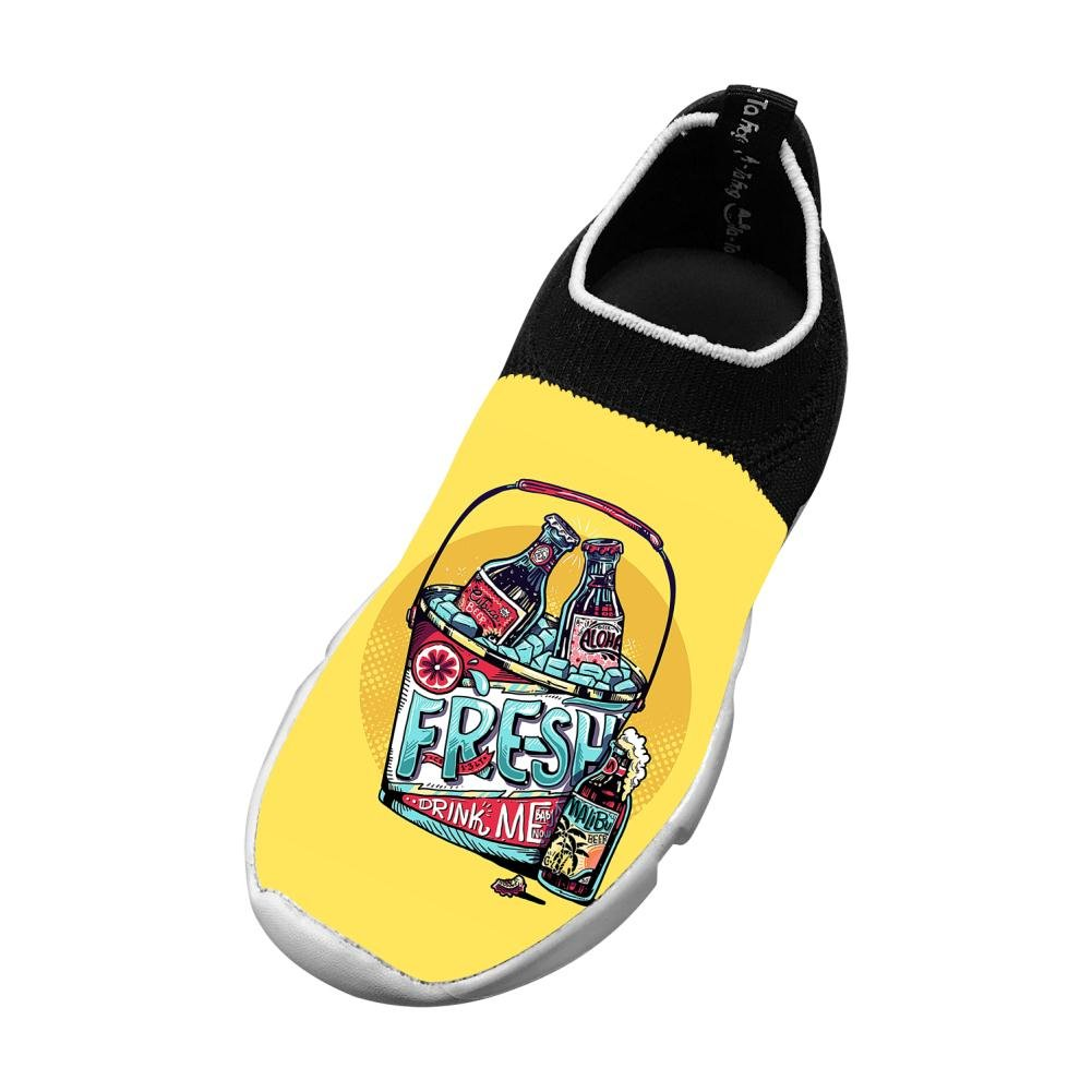 Sports Flywire Knitting Leisure Shoes For Unisex Child,Print Fresh Beer,