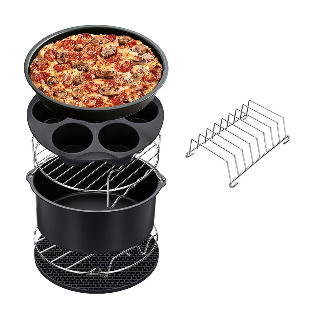 Guotail Air Fryer Accessories for XL Air Fryer 5.3 QT - 5.8 QT Including Pizza Pan Muffin Cake Barrel Pan Metal Holder Skewer Rack Bread Shelf Silicone Mat