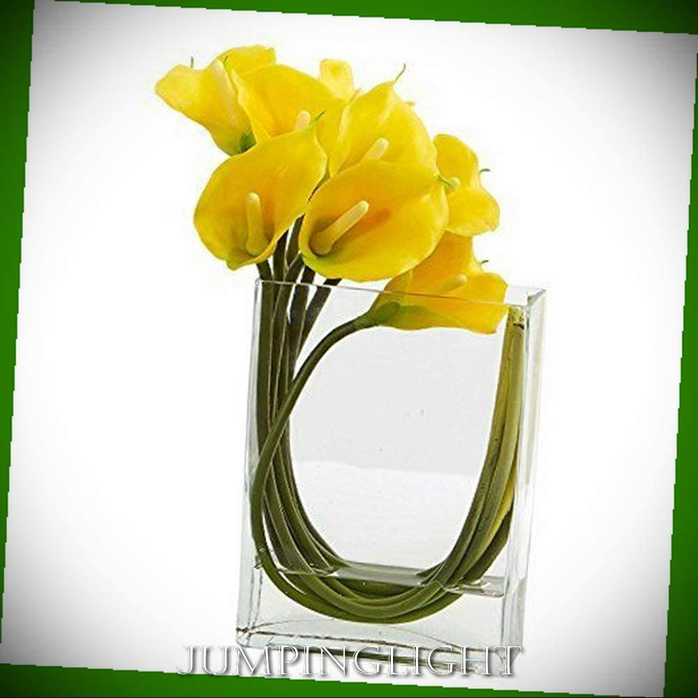 Amazon Com Jumpinglight Calla Lily In Rectangular Glass Vase 12 Yellow Artificial Flowers Wedding Party Centerpieces Arrangements Bouquets Supplies Home Kitchen