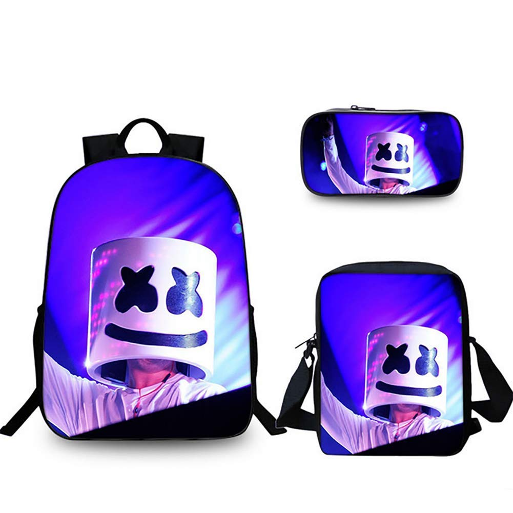 6 3PCS Sets School Backpack 3D DJ Cotton Candy Marshmello Print for Boys and Girls Waterproof Lightweight Canvas Backpack + Messenger Bag + Pencil Case