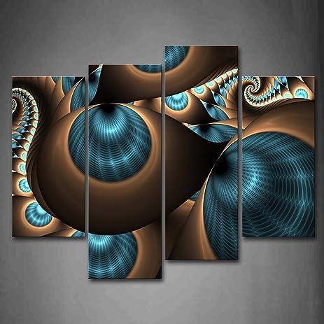 Amazon.com: Abstract Blue Brown Like Several Holes Wall Art ...