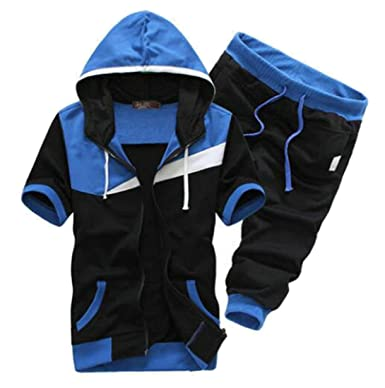 75a53a42e5 Fubotevic Men s Two Piece Outfits Color Block Hoodie Casual Jogger Shorts Pants  Tracksuits at Amazon Men s Clothing store