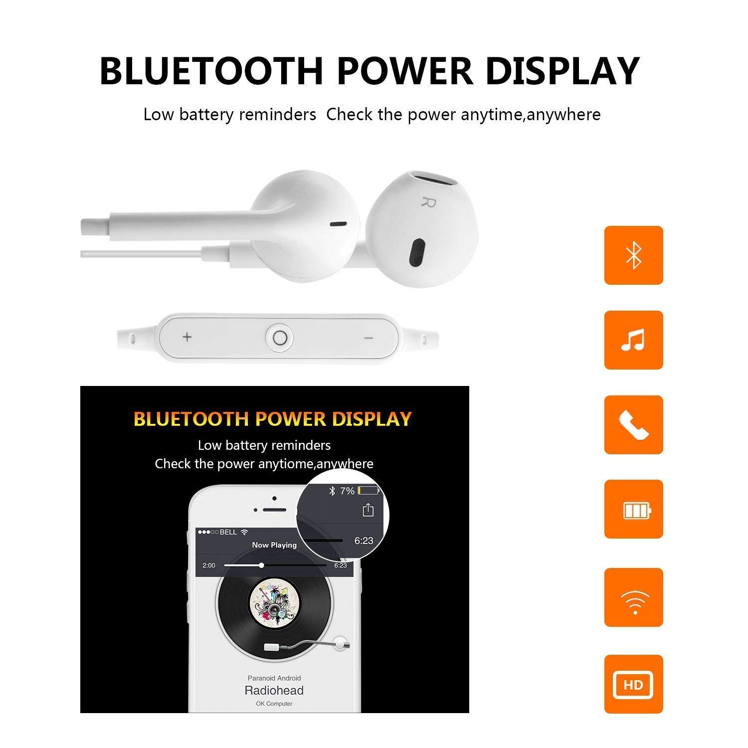 Bluetooth Headphones, in-Ear Wireless Earbuds, 4.2 Waterproof Sports Bluetooth Earphones with Mic Noise Cancelling Stereo Wireless Bluetooth Headphones for Gym Running Workout TTB001 by GouQing (Image #6)