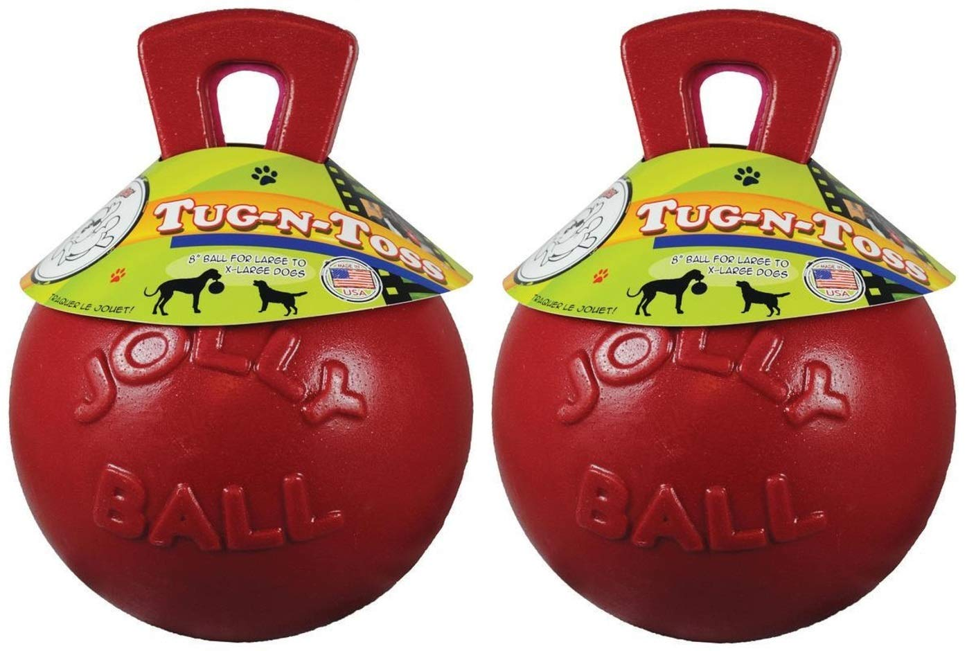 Jolly Pets 2 Pack of Tug-n-Toss Heavy Duty Chew Ball with Handle, Red, 6-Inch