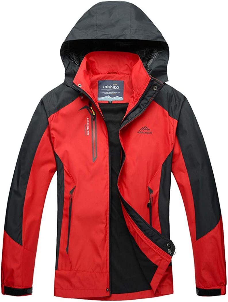 Rdruko Mens Jacket with Hood Waterproof Windproof Casual Outdoor Softshell Raincoat Sportswear