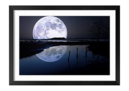 amazon com full moon black frame art print poster home wall decor
