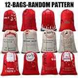 Christmas Sacks Santa Stocking Gift Sack Express Delivery Present/Gift/Storage Bag From North Pole Red Drawstring Gift Bag Large Size-20''X28''-12 Random Christmas Patten