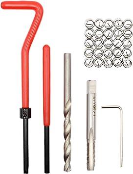 M5 30pcs M5//M6//M8 Stripped Thread Repair Insert Kit Compatible Hand Repairing Tool Set