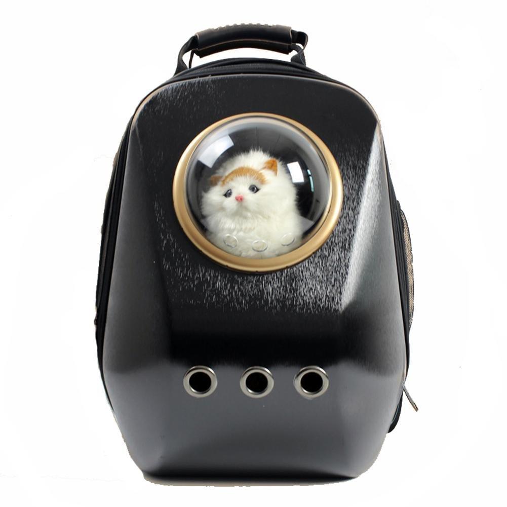 Black Breathable Pet Carrier Backpack Bag Puppy Double Shoulder Padded Hiking Outdoor Carrier , black