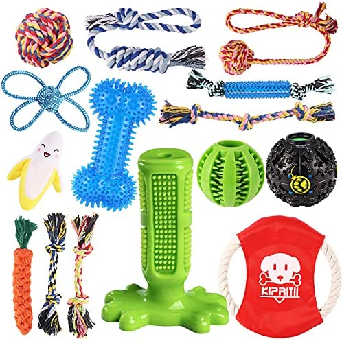 KIPRITII Dog Chew Toys for Puppy – 15 Pack Puppies Teething Chew Toys for Boredom, Pet Dog Toothbrush Chew Toys with Rope Toys, IQ Ball and More Squeaky Toy for Puppy and Small Dogs