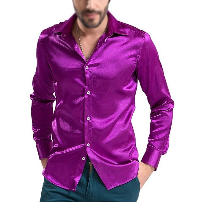 3bc403a2cf9b TOOGOO(R) Freizeit Herren Bekleidung hochgradig Emulation Seide  Langarmshirts Herren laessig Shirt Glaenzend Satin Lila M  Amazon.de   Bekleidung