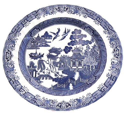 Churchill China Royal Wessex Blue Willow 12-Inch Charger Plate / Round Platter (Royal Blue Willow)