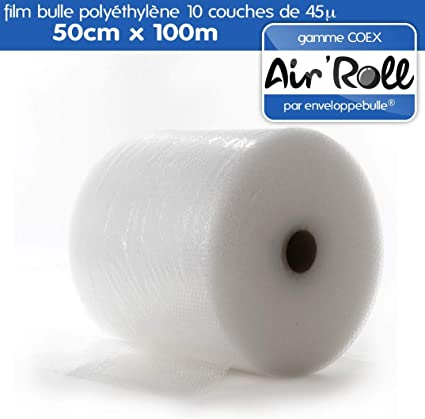 1 Rouleau de film bulle d/'air   50cm  de large X 100m de longueur  bulle de 10