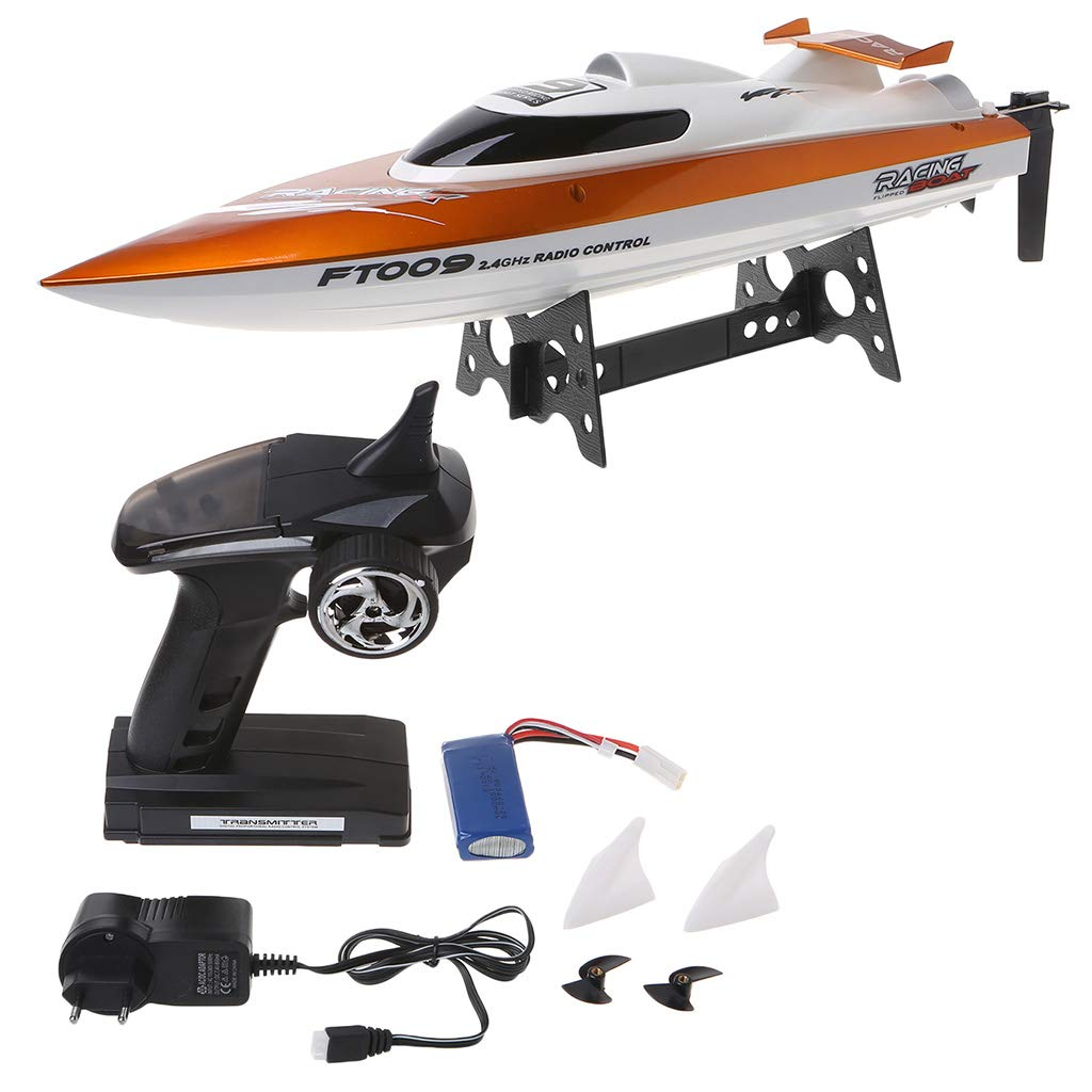 Shaoge High Speed Racing RC Boat FT009 2.4G 4CH Radio Control Boats with Rectifying Function Water Cooling and Self-righting Toy
