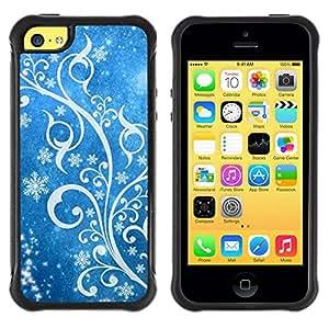 Suave TPU Caso Carcasa de Caucho Funda para Apple Iphone 5C / Winter Snow White Blue Floral / STRONG
