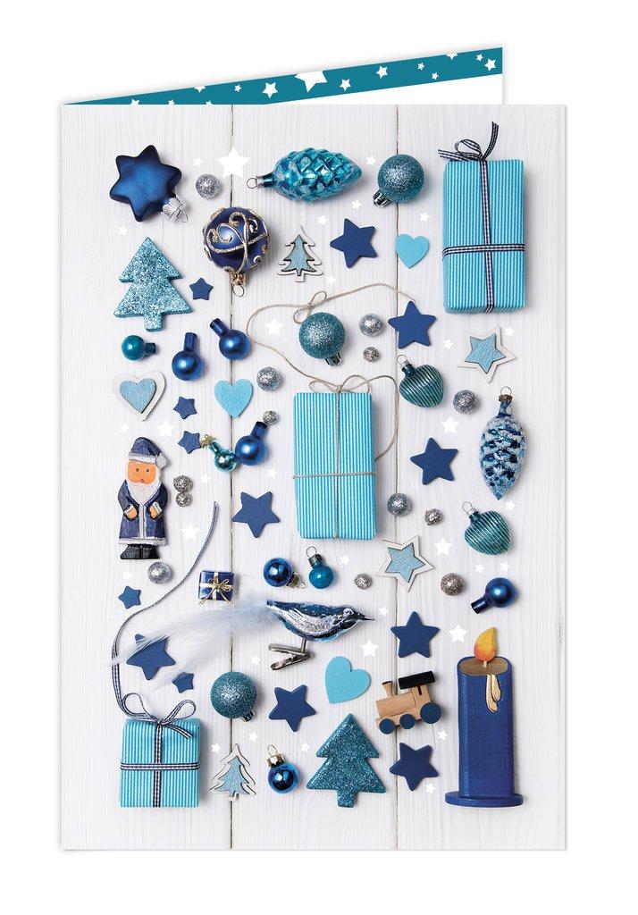 el precio más bajo 100 pieza tarjeta de Navidad – – – Azul Miniaturas – 11,5 x 17 cm (plegada) con KUverde; con cualquier lápiz y Impresora de etiquetar en calidad 1 A; Lim. Edition 2015 Fabricación propia en Baviera