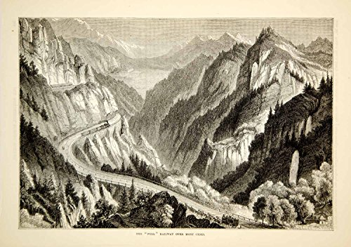 1876 Wood Engraving Antique Fell Railway Col Mont Cenis Pass Cottian Alps TWW1 - Original In-Text Wood Engraving