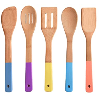 Comllen Natural Cooking Utensil Set Bamboo Spoons, 5 Piece Wooden Spoons and Spatulas Kitchen Tools with Multi-color Handles