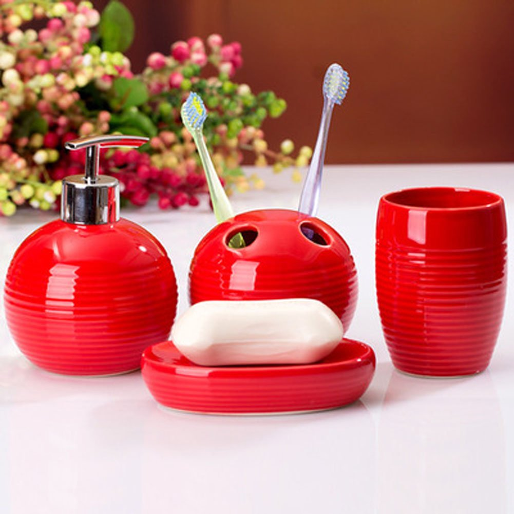 YOURNELO Simple Ceramic Toothbrush Holder, Soap Dispenser, Soap Dish, Tumbler (Red) myb16111601r