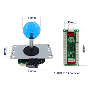 SJ@JX 2 Player Arcade Game DIY Kit Arcade Matt Frosted Black Button Twins USB Encoder Zero Delay 4&8 Way Arcade Fighting Joystick Controller for PC MAME Respberry Pi Retropie