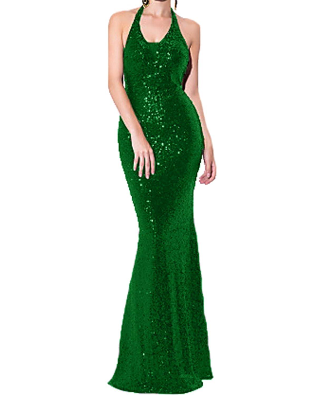 Bright Green Udresses Women's Sheath Halter Floor Length Sequined Sparkle Evening Dresses