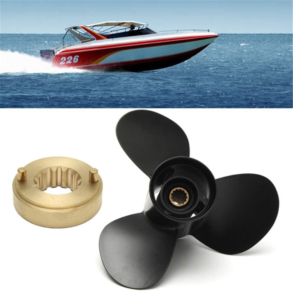 Couleur : Noir, Taille : Taille Unique LIUXING H/élice Moteur 10 3//4 x 12 Marine Ext/érieur Helice Compatible avec Mercury 25-70HP 48-816702A40 Aluminium