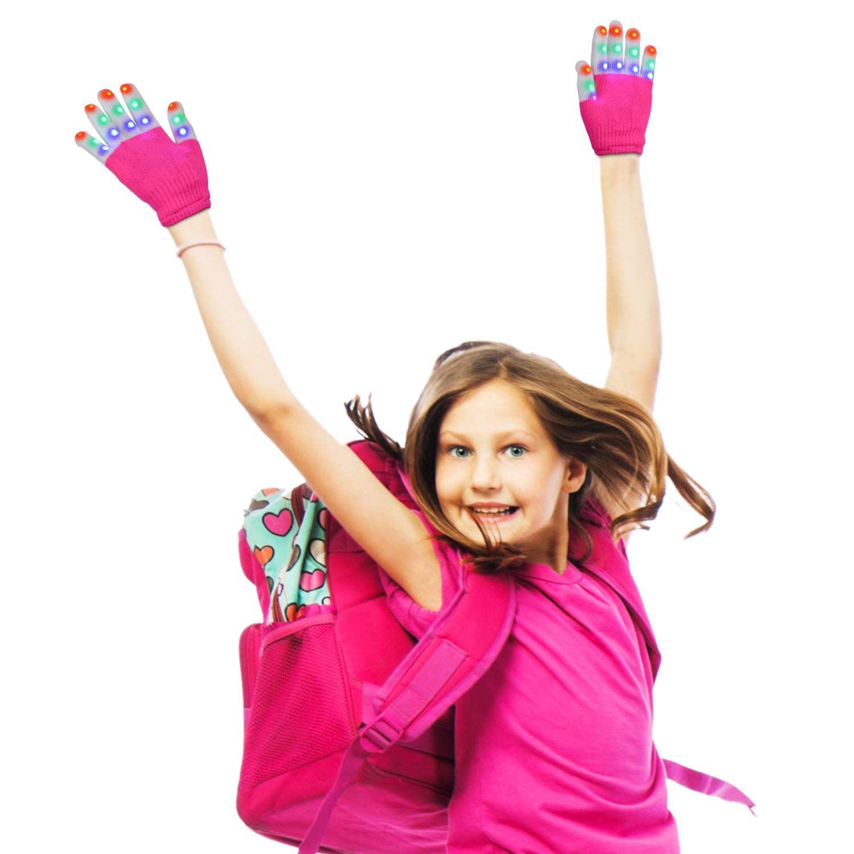 Charlemain Kinder LED Handschuhe (5-10 Jahre), 6 Modus, blinkende Handschuhe Spielzeug für Feiertag, Weihnachten, Halloween Kostüm Beleuchtung, kleine Handschuhe für Mädchen, Junge, Geschenk (Pink)