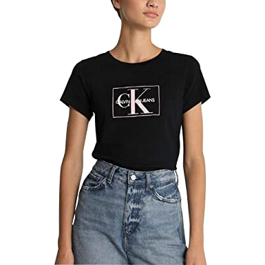 sports shoes fe25c 379b4 Calvin Klein T-Shirt Donna Nero TG S: Amazon.it: Abbigliamento