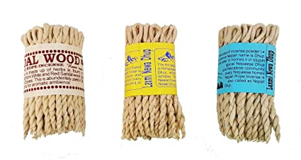 Clarity & Muse Incense Bundle 3 Types of Nepali/Tibetan Rope Incense  (Himalayan Cedar, Three Mixed, sandalwood) - Used for religious offering,
