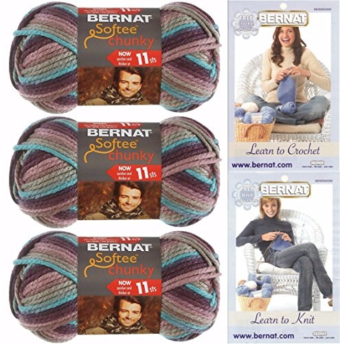 Bernat Softee Chunky Yarn Super Bulky #6, 3 Skeins Shadow Ombre 29121 Bundle ()