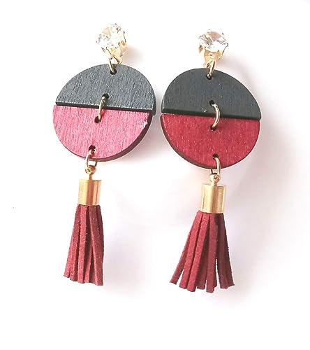 dc3e8e21d68 Buy Leeya Trendz Stylish Wooden Tassel Dangler Trendy Earrings For Women    Girls-Red   Black Online at Low Prices in India
