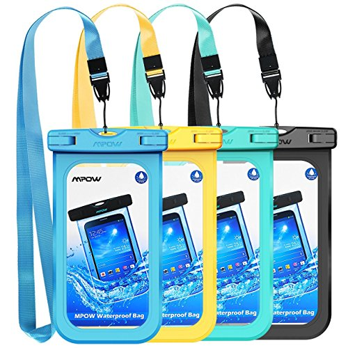 Mpow Waterproof Phone Pouch, IPX8 Universal Waterproof Case Underwater Dry Bag 4-Pack Compatible for iPhone Xs Max/XS/XR/X/8, Galaxy S9/S9P/S8/Note 9/8, Google/HTC up to 6.5