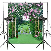MUEEU 6x9ft Garden Backdrops Spring Rose Photography backdground Wedding Flower Floral Green Grass Vinyl Digital Printed Photo Studio Props