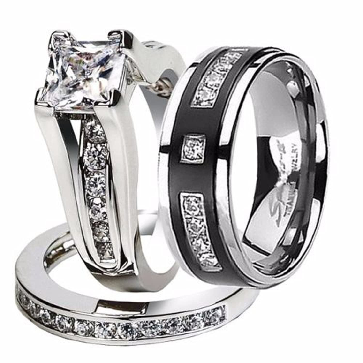com ring cushion solitaire sets gold halo white band ip bands diamond engagement set platinum wedding walmart