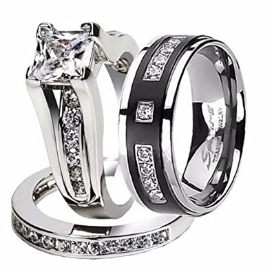 hers and his stainless steel princess wedding ring set titanium wedding band womens size 05 - Titanium Wedding Ring Sets