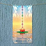 SOCOMIMI Soft Luxury Towel Chakra Icons in Sky from a Water Lily Lotus Flower in Sea Sacred Absorbent Ideal for Everyday use