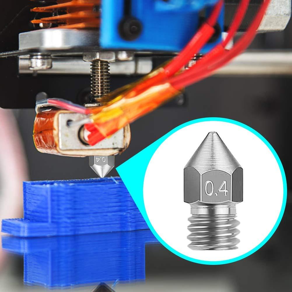 HAWKUNG 20 Piezas impresora 3D Cabezal M6 MK8 Lat/ón Extrusora Boquilla 0,3 mm Compatible con impresora 3D Makerbot Creality CR-10