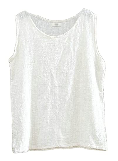 XXBlosom Womens Summer Crewneck Sleeveless Linen Blouses Cami Tanks Tops  Beige One-Size at Amazon Women s Clothing store