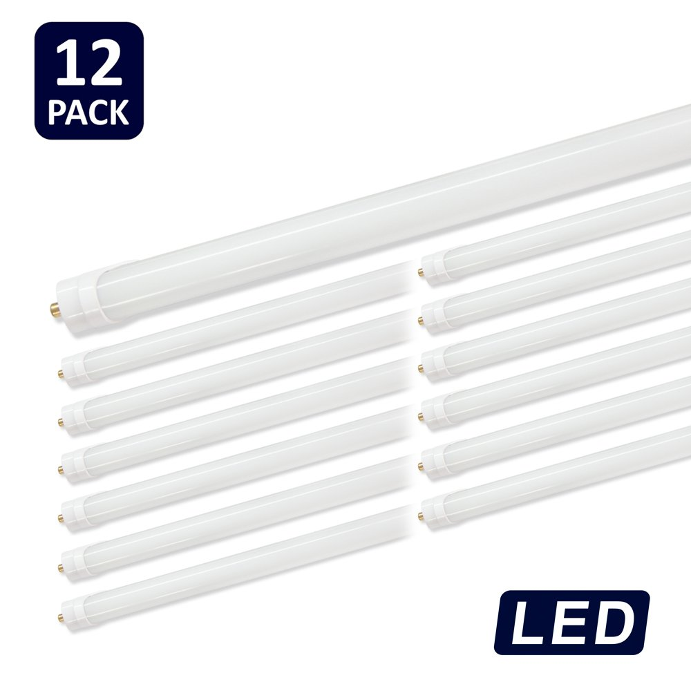 (Pack of 12) Barrina T8 T10 T12 LED Light Tube, 8ft, 44W (100W equivalent), 6500K, 4500 Lumens, Frosted Cover, Dual-Ended Power, Fluorescent Light Bulbs Replacement