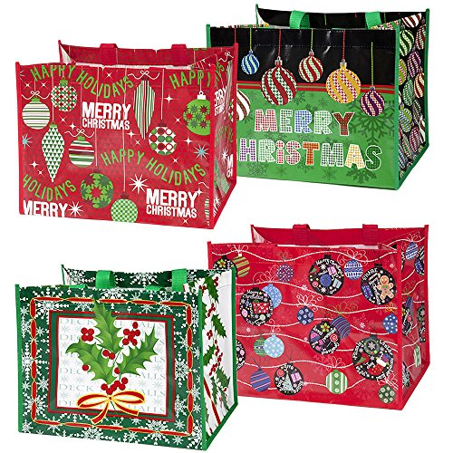 (12 Large Christmas Tote Bags with Handles 12.75