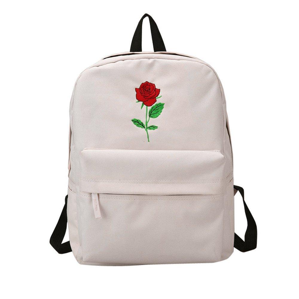 TianranRT Women Girls Embroidery Rose School Bag Travel Backpack Bag