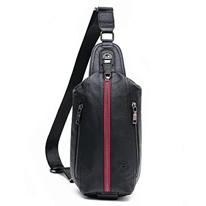 973404f82aa6 Bull Captain Crossbody Bag Black Genuine Leather Chest Bag for Men Sling  Leather Backpack with Two